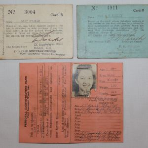 I021. WWII CIVILIAN IDENTIFICATION CARD & PX CARDS TO A LT COLONEL WIFE