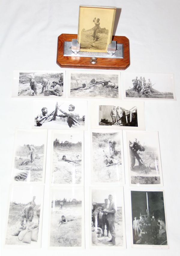 J024. WWII ANTI AIRCRAFT, COAST ARTILLERY PICTURE FRAME & 14 PHOTOS