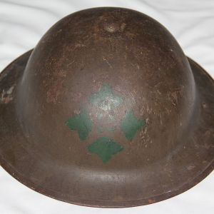 B250. WWI M1917 4TH INFANTRY DIVISION PAINTED HELMET