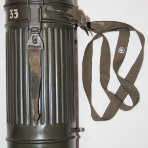 M022. LATE WWII NAMED GERMAN GAS MASK SET