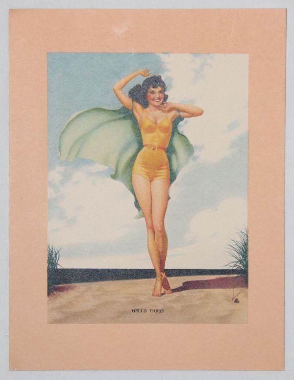 """J029. WWII PIN-UP LITHOGRAPH ART """"HELLO THERE"""""""
