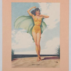 "J029. WWII PIN-UP LITHOGRAPH ART ""HELLO THERE"""