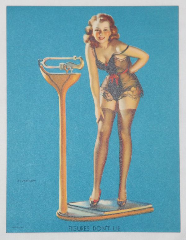 "J030. WWII PIN-UP LITHOGRAPH ART ""FIGURES DON'T LIE"""