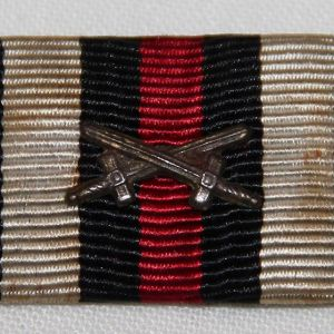 B107. WWI GERMAN MOUNTED RIBBON BAR, COMBATANTS CROSS OF HONOR WITH SWORDS