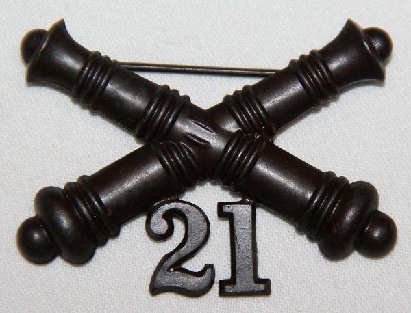 A023. 1903 ERA 21ST COAST ARTILLERY CORPS COLLAR INSIGNIA