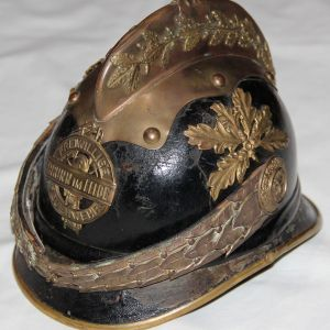 B114. WWI GERMAN LEATHER FIRE HELMET WITH LINER