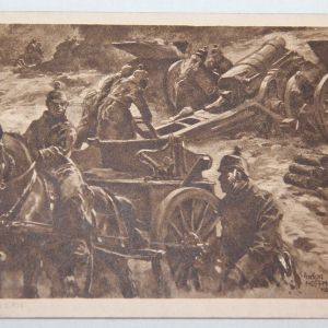 B118. WWI GERMAN POSTCARD WITH ARTILLERY