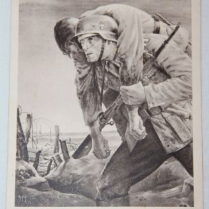 R034. WWII GERMAN POST CARD CARRYING A WOUNDED SOLDIER