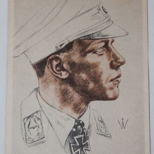 R041. WWII GERMAN POSTCARD LUFTWAFFE MAJOR WICK KNIGHTS CROSS WINNER