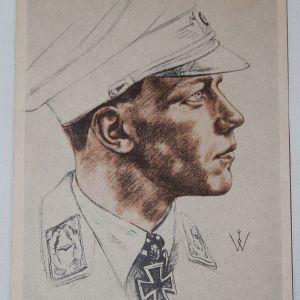 R041. WWII GERMAN POSTCARD LUFTWAFFE MAJOR WICK KNIGHTS CROSS WINNER