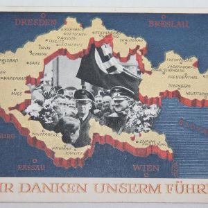 R042. WWII GERMAN POSTCARD AUSTRIA THANKS THE FUHRER