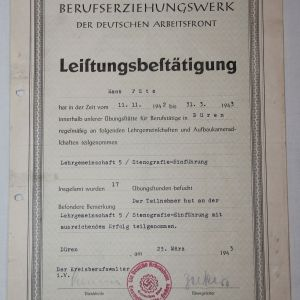 R046. WWII GERMAN DAF NAMED AND 1943 DATED CERTIFICATE OF MERIT