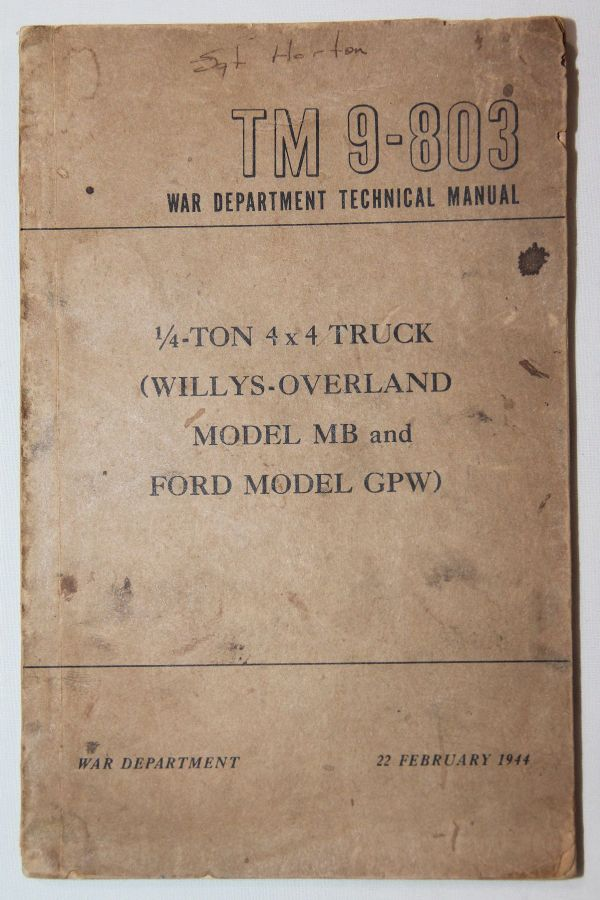 J039. WWII 1944 DATED WILLYS MB AND FORD GPW JEEP TECHNICAL MANUAL