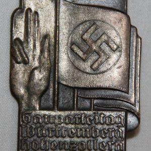 P046. WWII GERMAN 1934 GAUPARTEITAG STUTTGART TINNIE