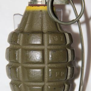 E116. NEAR MINT INERT WWII MKII TNT HAND GRENADE WITH M6A4C FUSE AND SPOON
