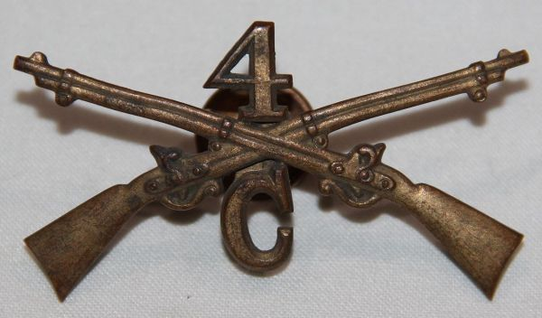 "A026. EARLY 1900'S 4TH INFANTRY ""C"" COMPANY CAP INSIGNIA"
