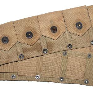 E126. WWII 1942 DATED KHAKI WEB 10 POCKET CARTRIDGE BELT