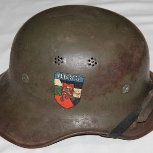 L036. WWII GERMAN GLADIATOR HELMET WITH BULGARIAN DECAL