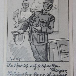 R055. WWII GERMAN COMIC FELDPOST USED POSTCARD