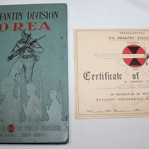 S069. KOREAN WAR 7TH INFANTRY DIVISION UNIT HISTORY AND NAMED ACHIEVEMENT CERTIFICATE