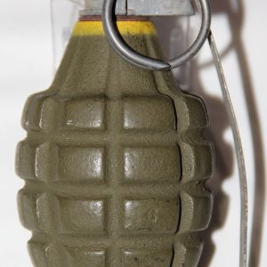 E201. INERT WWII MKII GRENADE WITH M10A3 MODIFIED M10A1 FUSE