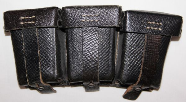 M046. NICE LATE WWII GERMAN K98 LEATHER AMMUNITION POUCH