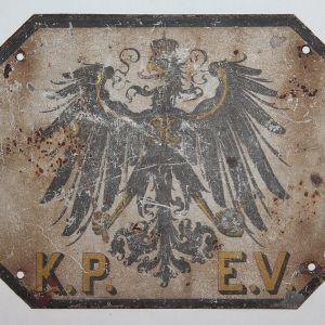 B170. WWI GERMAN METAL SIGN OFF A PRUSSIAN ROYAL RAILWAY CAR