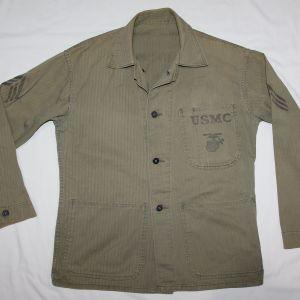 S077. NAMED KOREAN WAR USMC P47 HBT COMBAT FIELD SHIRT