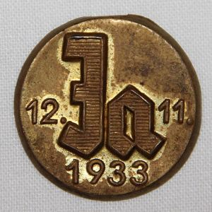 P075. GERMAN 12-11-1935 JA NSDAP ELECTION LAPEL PIN