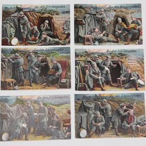 B180. LOT OF 6 WWI GERMAN COLOR LITHOGRAPH POSTCARDS