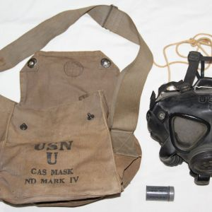 E236. WWII USN MKIV GAS MASK WITH BAG AND INSTRUCTIONS