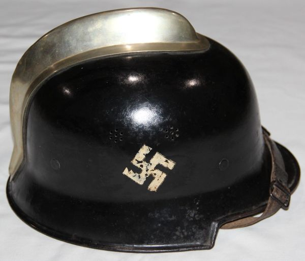 PRE WWII GERMAN FIRE POLICE HELMET WITH CANTED DECALS