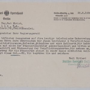 R069. 1936 LETTER FROM THE GERMAN OPERA HOUSE IN BERLIN TO GOVERNMENT COUNCIL