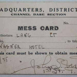 J061. NAMED WWII OFFICER'S MESS CARD FOR CHANNEL BASE SECTION HQ