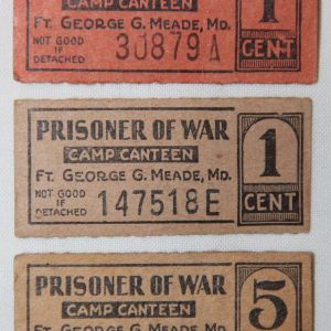 J068. LOT OF 3 WWII POW CAMP CANTEEN TICKETS FROM FORT MEADE MARYLAND