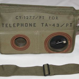 T217. NICE VIETNAM TA-43/PT FIELD TELEPHONE WITH CASE AND SHOULDER STRAP