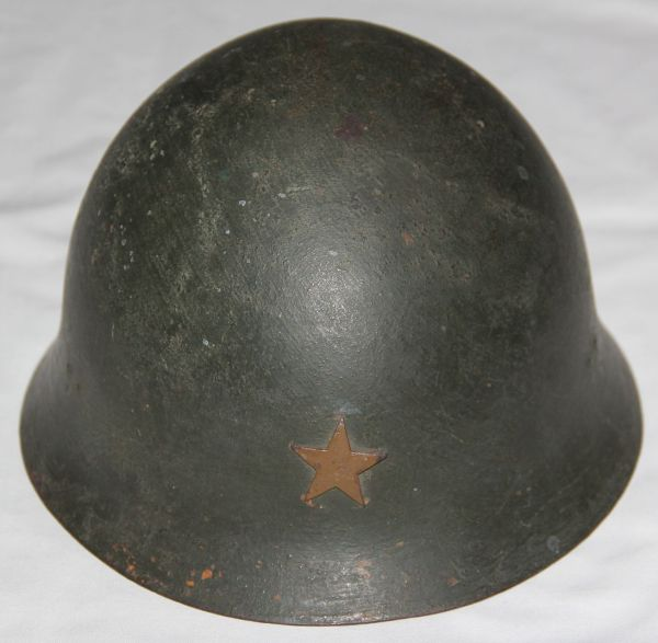 L054. WWII JAPANESE ARMY TYPE 90 COMBAT HELMET WITH DARK PAINT