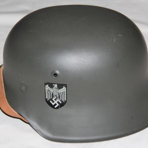 L055. REPRODUCTION WWII GERMAN ARMY M42 HELMET MADE BY HUDSON IN 1976