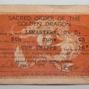 J071. NAMED WWII USN SACRED ORDER OF THE GOLDEN DRAGON CARD USS TRIPPE