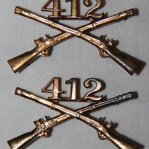H089. PRE WWII 412TH INFANTRY OFFICERS NUMBERED COLLAR INSIGNIA