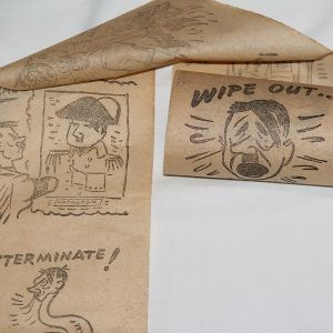 I093. WWII PARTIAL ROLL OF ANTI HITLER TOILET PAPER