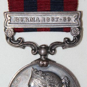 A053. NAMED BRITISH INDIA SERVICE MEDAL WITH 1887-89 BURMA CLASP