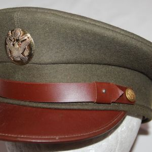 C082. NICE WWII DOESKIN WOOL EM VISOR CAP