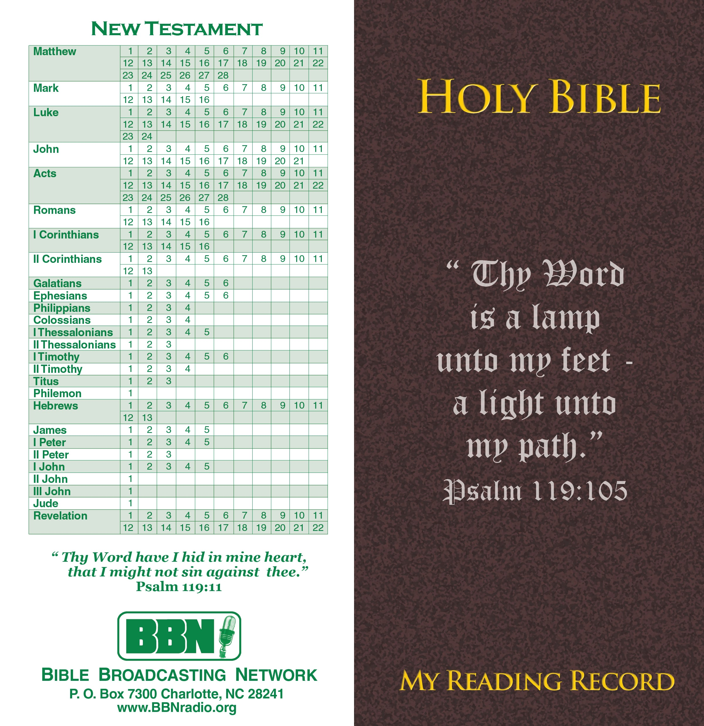 Bible Reading Record Front and Back