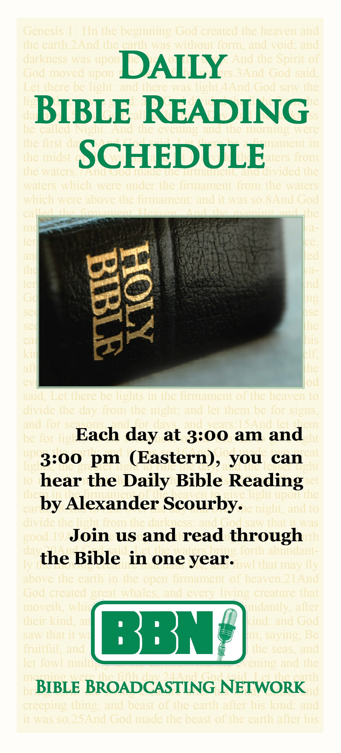 Bible Reading Schedule Front