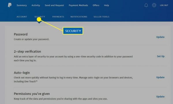 how to change paypal password on app