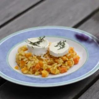 Kürbis-Risotto mit gegrilltem Ziegenkäse