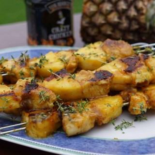 Feurige Hähnchen-Ananas-Spieße mit Mango-Honig-Glasur