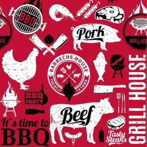40x Bbq thema feest servetjes 33 x 33 cm dieren print rood/zwart/wit