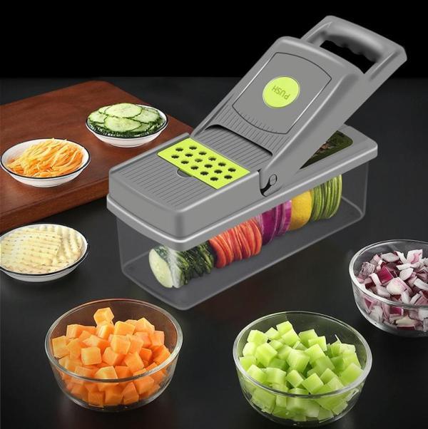 Keuken multifunctionele groentesnijder snijmachine aardappel salade rasp (grijze een sleutel om te wissen)